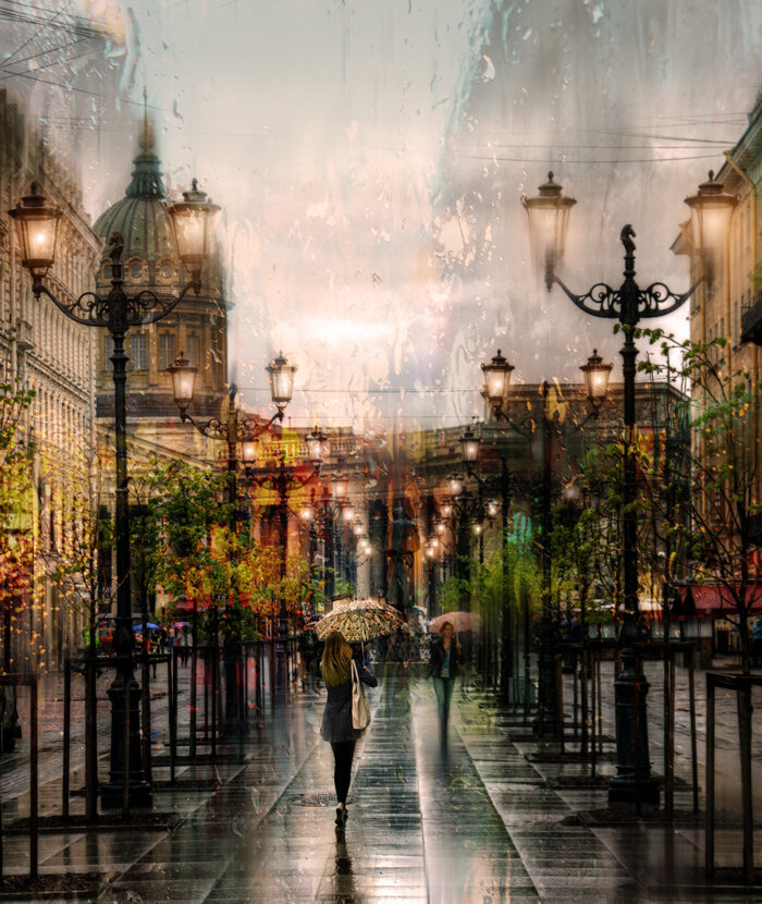 фото город под дождем что холодное время